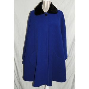 LeModa Jackets & Coats - LeModa Royal Blue Fleece & Faux Fur Cape, OS